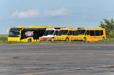 Aerodrome buses, Rostov-on-Don, Russia, July 15, 2015. The buses have been decommissioned and scrapped. Editorial