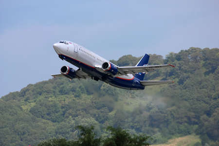 airstrip: Takeoff of Boeing-737 aircraft from NordAvia, Sochi, Russia, August 22, 2011 Editorial