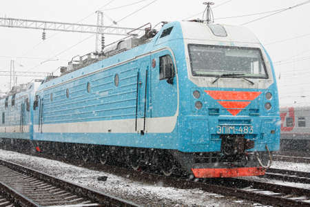 EP1M, Rostov-on-Don, Russia, March 18, 2010. The passenger electric locomotive, replacing the CS4t