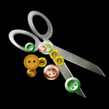 mending: illustration of scissors and buttons on black background Stock Photo