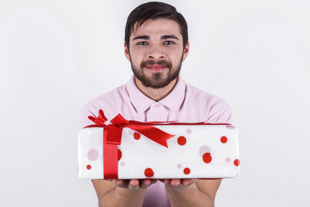 special day: Happy emotional man with gifts on special day
