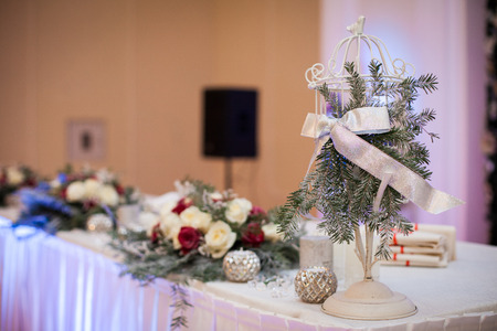 christmas catering: Elegant, luxury wedding reception catering table, christmas theme