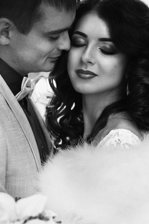Tenderness between bride and fiance