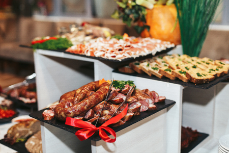 Meat courses threaded for a wedding table Stock Photo