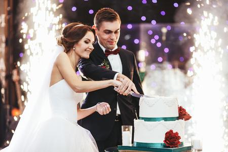 wedding: 快樂的新娘和新郎在煙花的前面剪下婚禮蛋糕