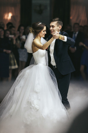 butonniere: Just married waltz in the middle of the hall Stock Photo