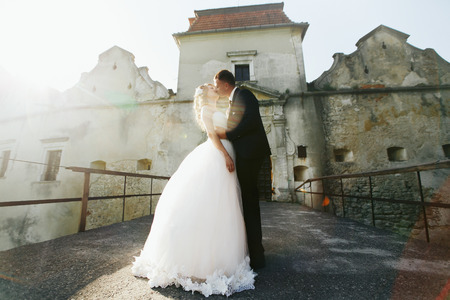 misterious: Groom kisses a bride before the entrance to the old castle Stock Photo