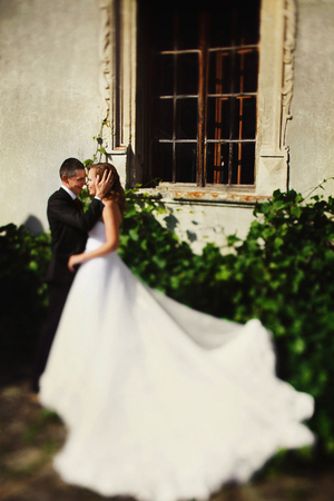 Brides dress spreads around among the green bushes while groom kisses her