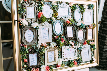 Luxury vintage frames with the list of the wedding guests Stock fotó