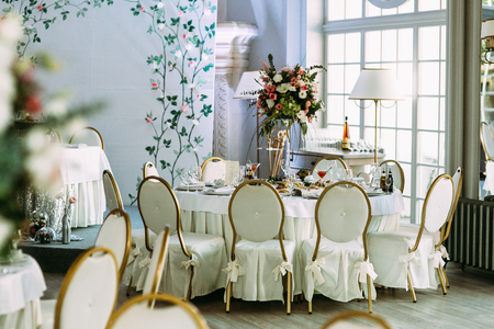 Lovely wedding table next to the window