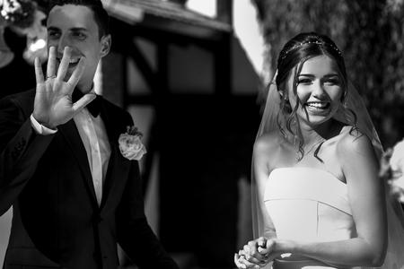 Black and white photo of the wedding ceremony Stok Fotoğraf