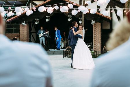 dancefloor: Musicians and married couple on the dancefloor Stock Photo