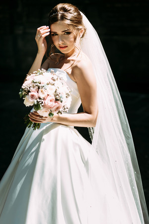 Mysterious glance of the young nice bride
