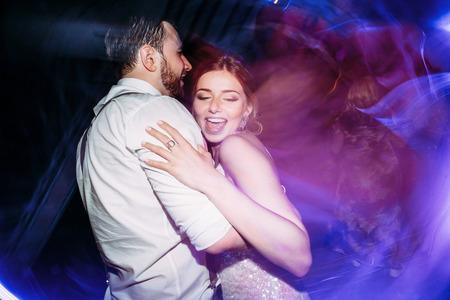 Just married on the wedding dance floor