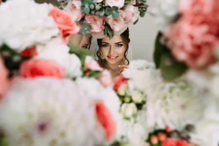 Many flowers and brides face in the middle Stock Photo