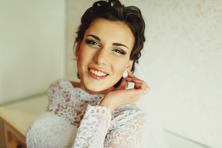 sincerely: Stunning brunette bride smiles sincerely Stock Photo