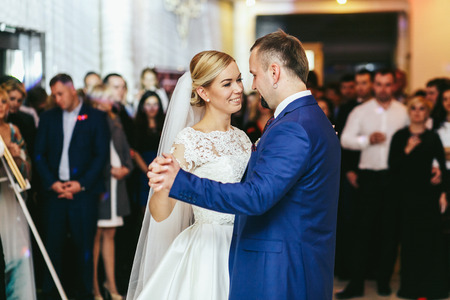 Stunning wedding couple dance at the first time
