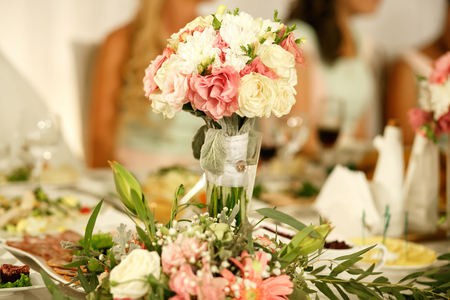 The wedding table with decorations