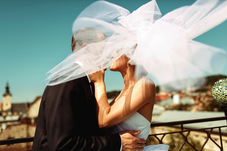 spreads: Brides veil spreads around hiding newlyweds Stock Photo