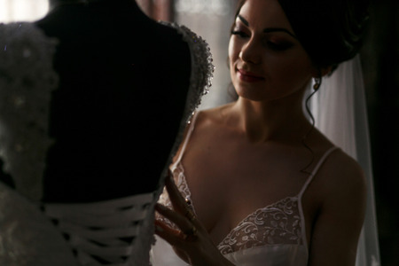 magnificence: The bride looking at wedding dress