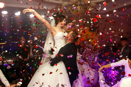 fiance: The lovely couple in love dancing on the dancefloor Stock Photo