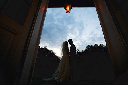 fiance: Silhouettes of a wedding couple standing in the front of deep blue sky
