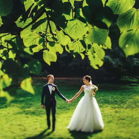fiance: Bride and groom look at each other walking in the park