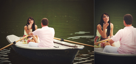 doubled: Doubled picture of a couple in the boat and brunette sending an air kiss