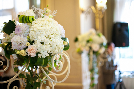Bouquets Of White Hydrangeas Stand In White Steel Vases Stock Photo