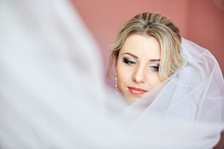 Veil flies around gorgeous brides face with tender pink lips Stock Photo