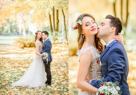 Boubled picture of stunning newlyweds kissing in the autumn park