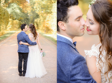 Look from behind at gorgeous wedding couple kissing during a walk Banque d'images