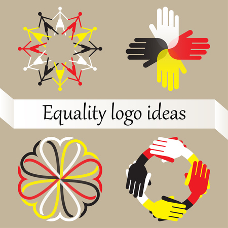 Vector set of four logos with equality, world peace and racial diversity idea. Concept against racism and discrimination. People, hands and hearts of different races forming circles. Vettoriali