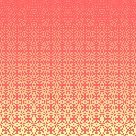 Abstract geometric floral outline pattern with halftone effect. Light pink rhombus-shaped petals on pink background. Textile print design for bed linen, pillows, bags, wrapping paper.