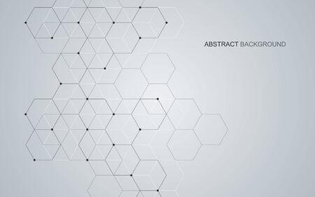 Fondo esagonale di vettore. Astrazione geometrica digitale con linee e punti. Disegno astratto geometrico Vettoriali