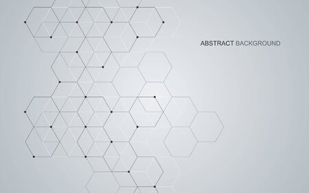 Vector hexagonal background. Digital geometric abstraction with lines and dots. Geometric abstract design Векторная Иллюстрация