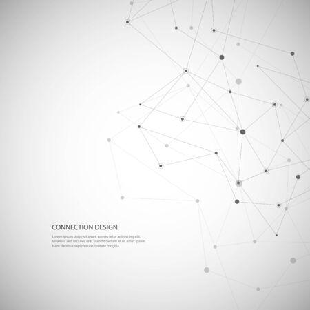 Red social creativa global de vector. Fondo poligonal abstracto con líneas y puntos