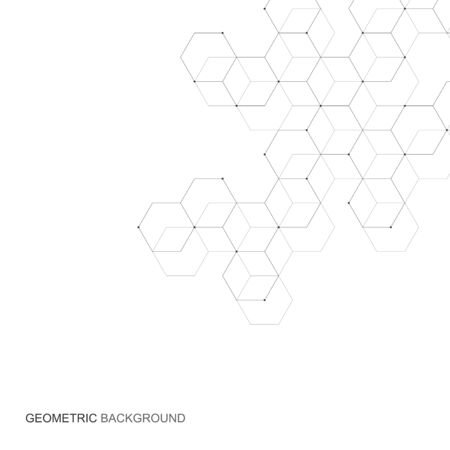 Vector hexagonal background. Digital geometric abstraction with lines and dots. Geometric abstract design Illustration