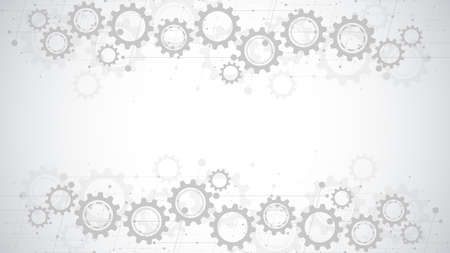 Cogs and gear wheel mechanisms. Hi-tech digital technology and engineering. Abstract technical background. Vector Illustration