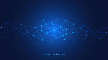 Abstract technology background with connecting dots and lines. Digital technology of global network connection and communication. Vector Illustration