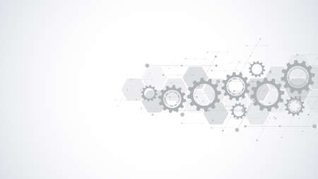 Cogs and gear wheel mechanisms. Hi-tech digital technology and engineering. Abstract technical background