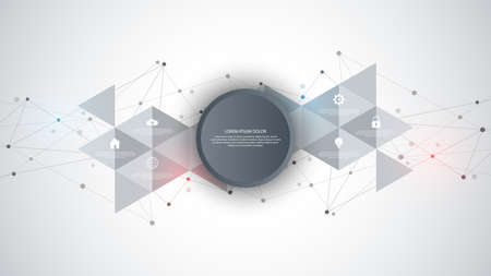 Information technology with infographic elements and flat icons. Abstract background with connecting dots and lines. Global network connection, digital technology and communication concept Ilustración de vector