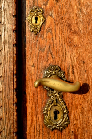 Old Oak Door With Brass Handle and Locks photo