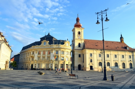 Sibiu Town Hall in the Main Square  Piata Mare  photo