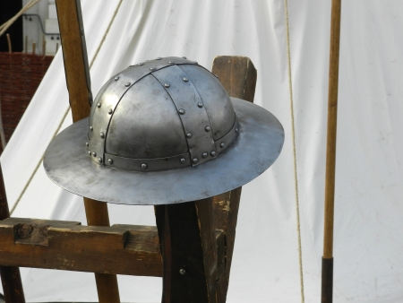 riveted: Medieval Riveted Iron Helmet Stock Photo