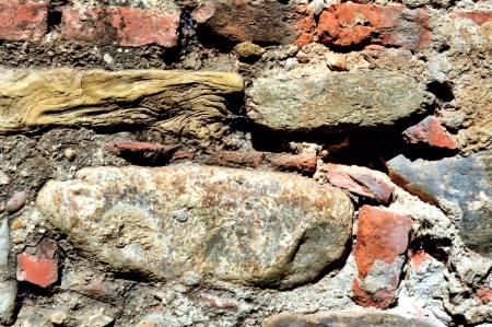 stratification: Stone Brick and Mortar Wall Texture Stock Photo