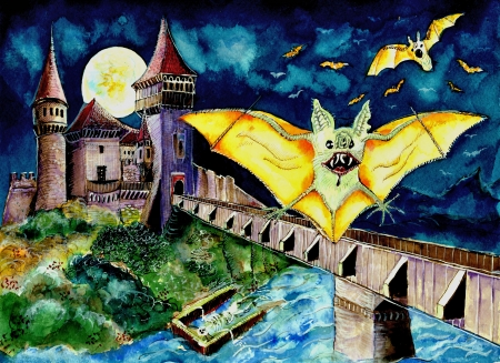 flying coffin: Halloween Landscape with Bats and Transylvanian Castle Stock Photo