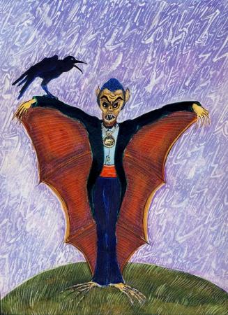 vermilion: Halloween Funny Batcula with Crow Stock Photo