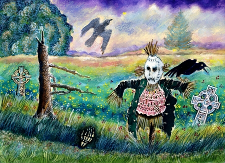cerulean: Halloween Field with Funny Scarecrow Skeleton Hand and Crows