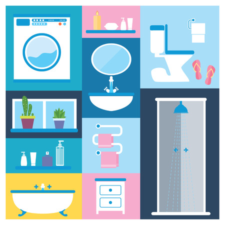 Flat style vector illustration. Bathroom furniture objects icons set with interior accessories for washing  isolated on colored background